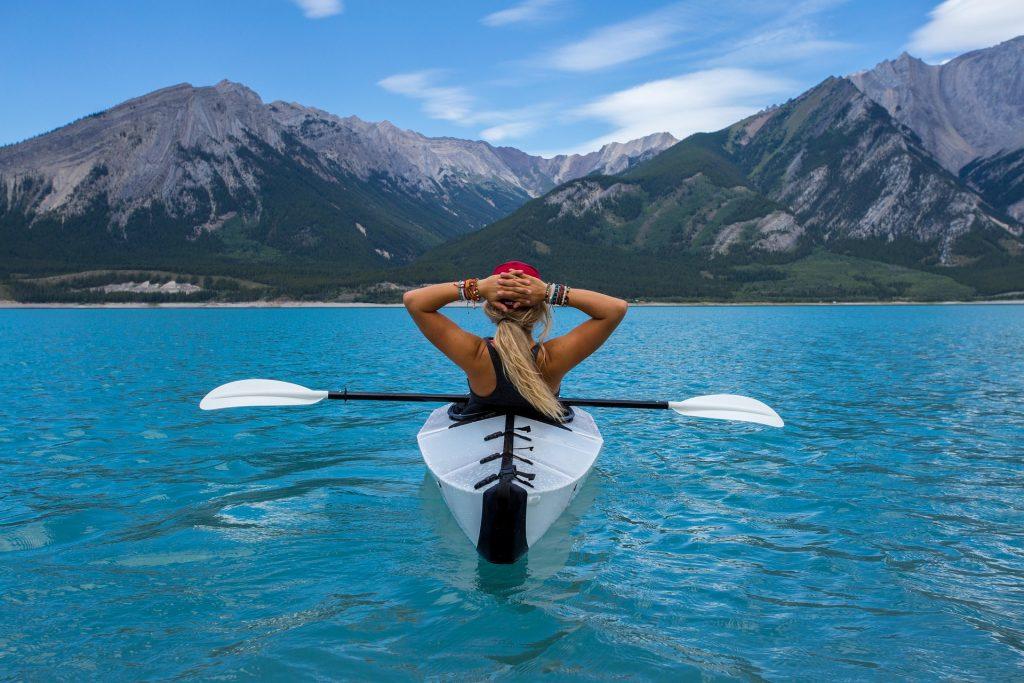 Kayaking mountains peaceful