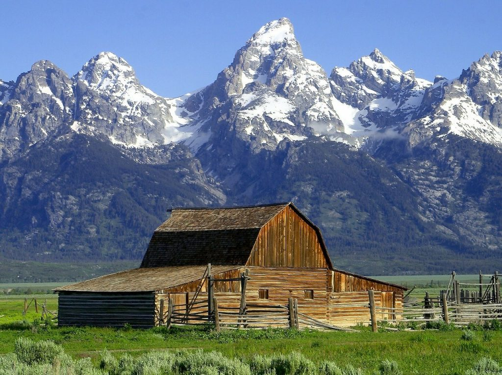 Barn in front of Teton Mountains near Jackson Hole WY
